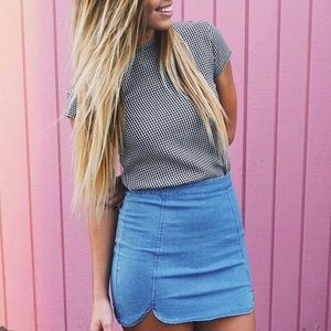 Brandy Melville Denim Raquel Slit Mini Skirt